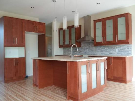 Brown Cabinets and Beige Quartz