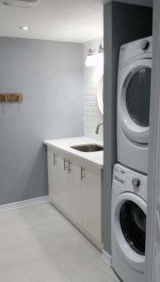 Basement Finishing, Laundry Room, Stacked Laundry, Toronto, Vaughan, GTA, Richmond Hill, Aurora, King, Newmarket, Mississauga, Brampton