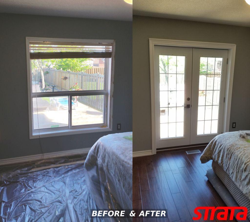 Brick wall window cutout install door masonry services