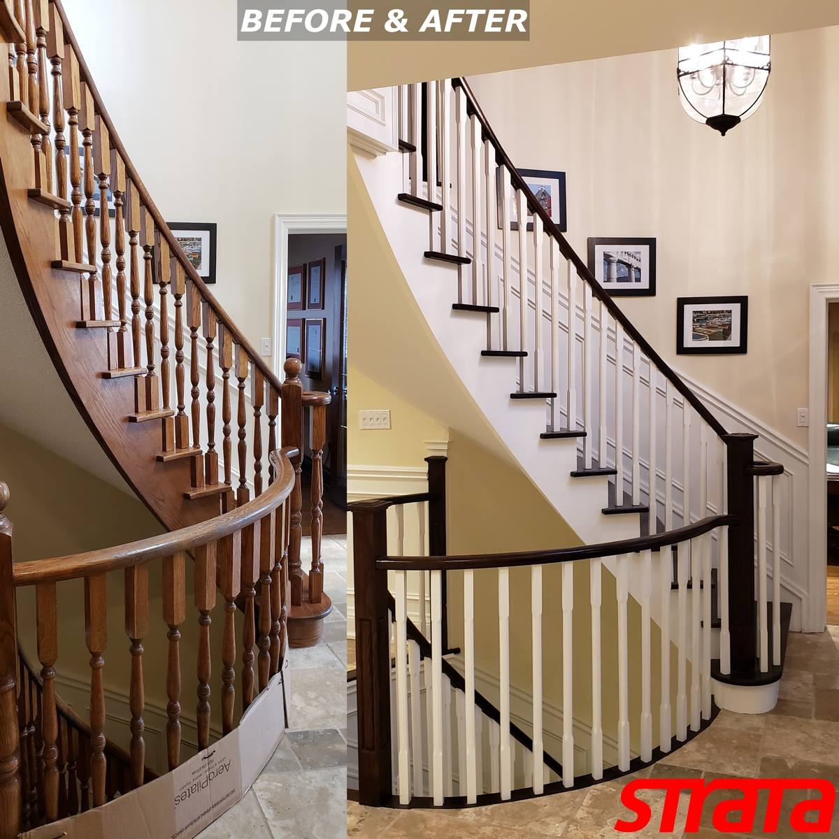 Before and After - Dust Free Popcorn Removal - Stair Refinishing - Railing Renovation - Maple, Vaughan,, York Region