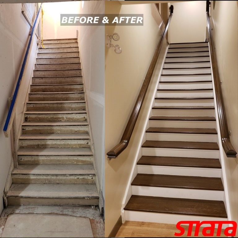Before and After - Heritage Property - Dust Free Stair Refinishing - Railing Renovation - Richmond Hill, Vaughan, York Region