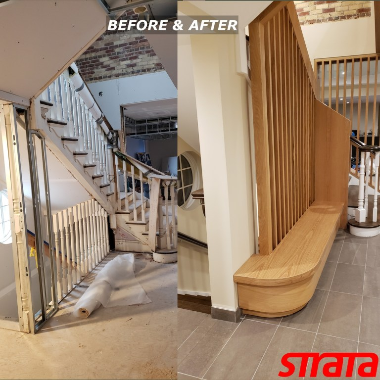 Before and After - Historical Building Heritage Property - Dust Free Stair Refinishing - Railing Renovation - Toronto, Kleinburg, Downtown Toronto, Downtown