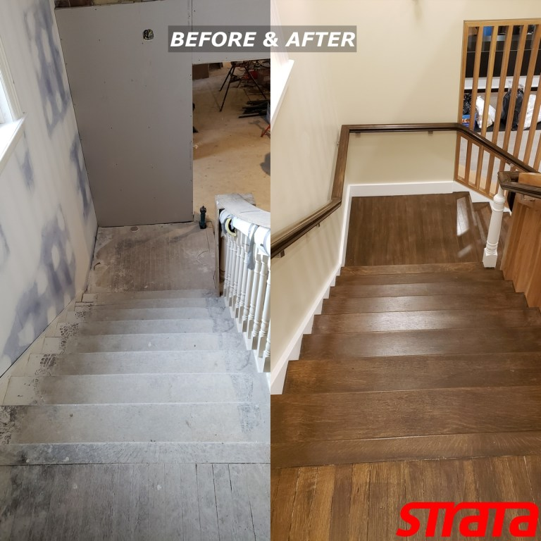 Before and After - Historical Building Heritage Property - Dust Free Stair Refinishing - Railing Renovation - Toronto, Vaughan, Woodbridge