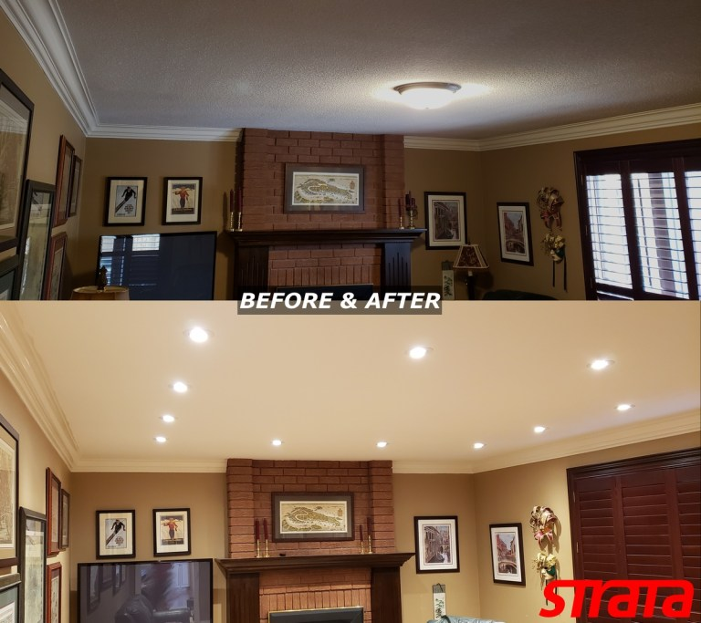 Ceiling Renovation LED Potlight installation and dustless popcorn removal toronto smooth ceilings