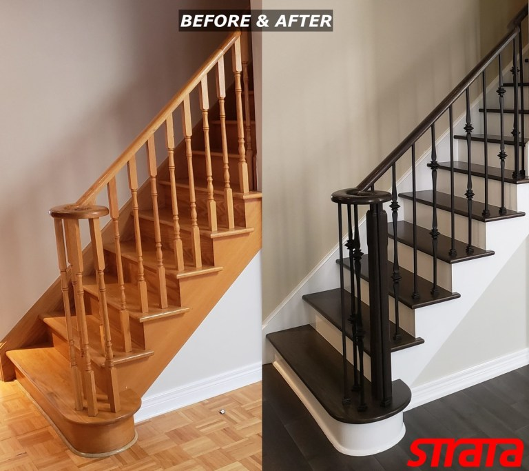 Before and After - Dust Free Popcorn Removal - Stair Refinishing - Railing Renovation - Iron Spindle Installation - Maple, Vaughan, Woodbridge