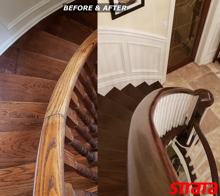 Before and After - Dust Free Stair Refinishing - Railing Renovation - Brampton, Bolton, Kleinbug, Caledon