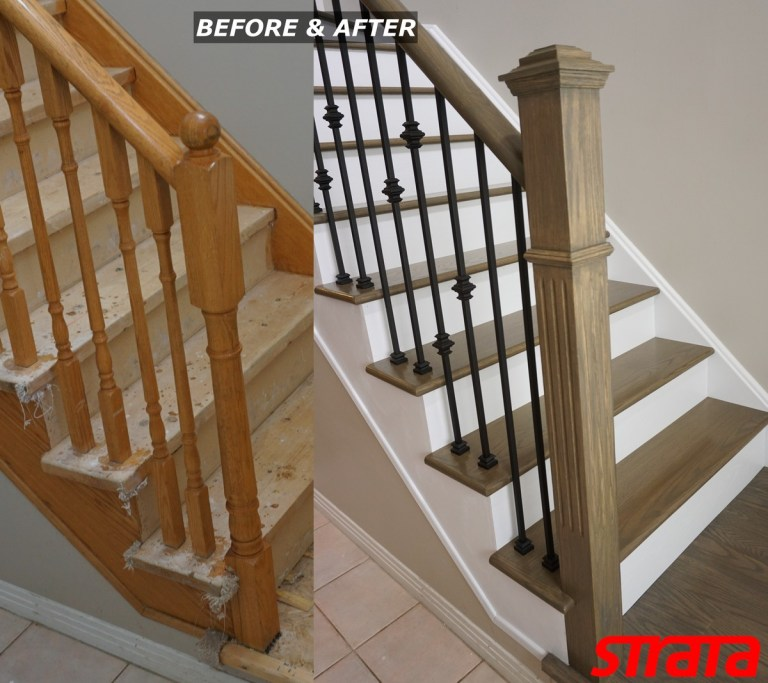 Before and After - Dust Free Stair Refinishing - Railing Renovation - Brampton, Bolton, Kleinbug, Woodbridge, Maple
