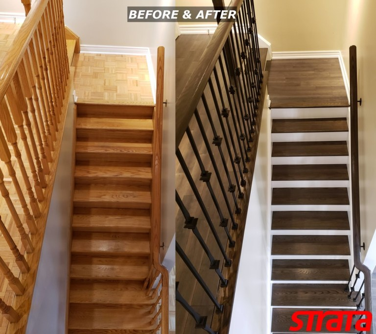 Before and After - Dust Free Stair Refinishing - Railing Renovation - Maple, Vaughan, Woodbridge