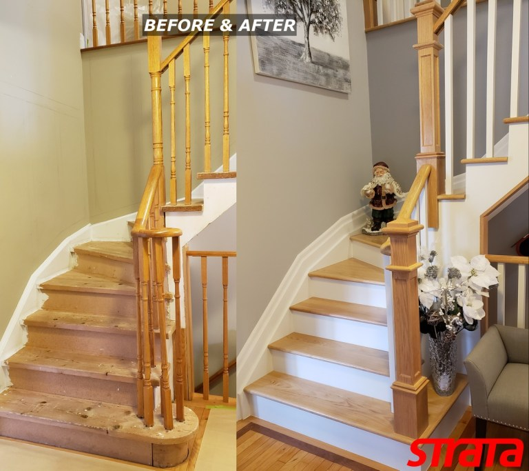 Before and After - Dust Free Stair Refinishing - Railing Renovation - Mississauga, Etobicoke