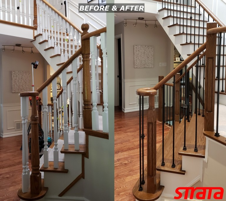 Before and After - Dust Free Stair Refinishing - Railing Renovation - Richmond Hill, Markham