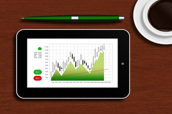 33093769 - tablet with the stock chart lying on a wooden table with a cup of coffee and pen