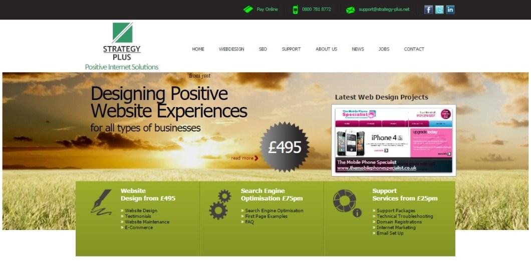 Strategy Plus Homepage Web Design 2012