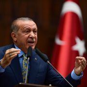 President Recep Tayyip Erdogan speaks about the slaying of Saudi journalist Jamal Khashoggi during a weekly parliamentary address on Oct. 23 in Ankara.