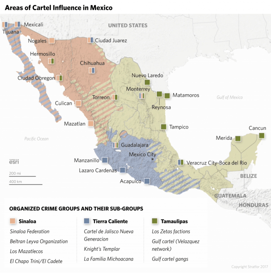 Territory of Mexican cartel influence. Map by Stratfor.