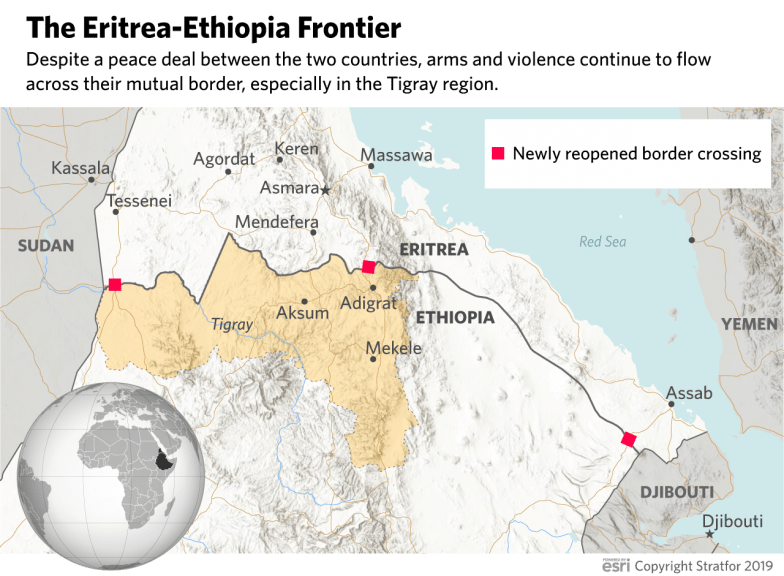 A map showing newly reopened border crossings between Eritrea and Ethiopia