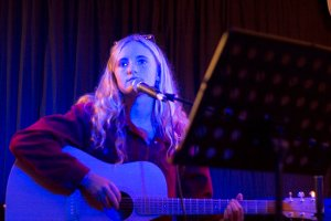 Sam Windley at Woy Woy gig night at Stratford Music on guitar and vocals.