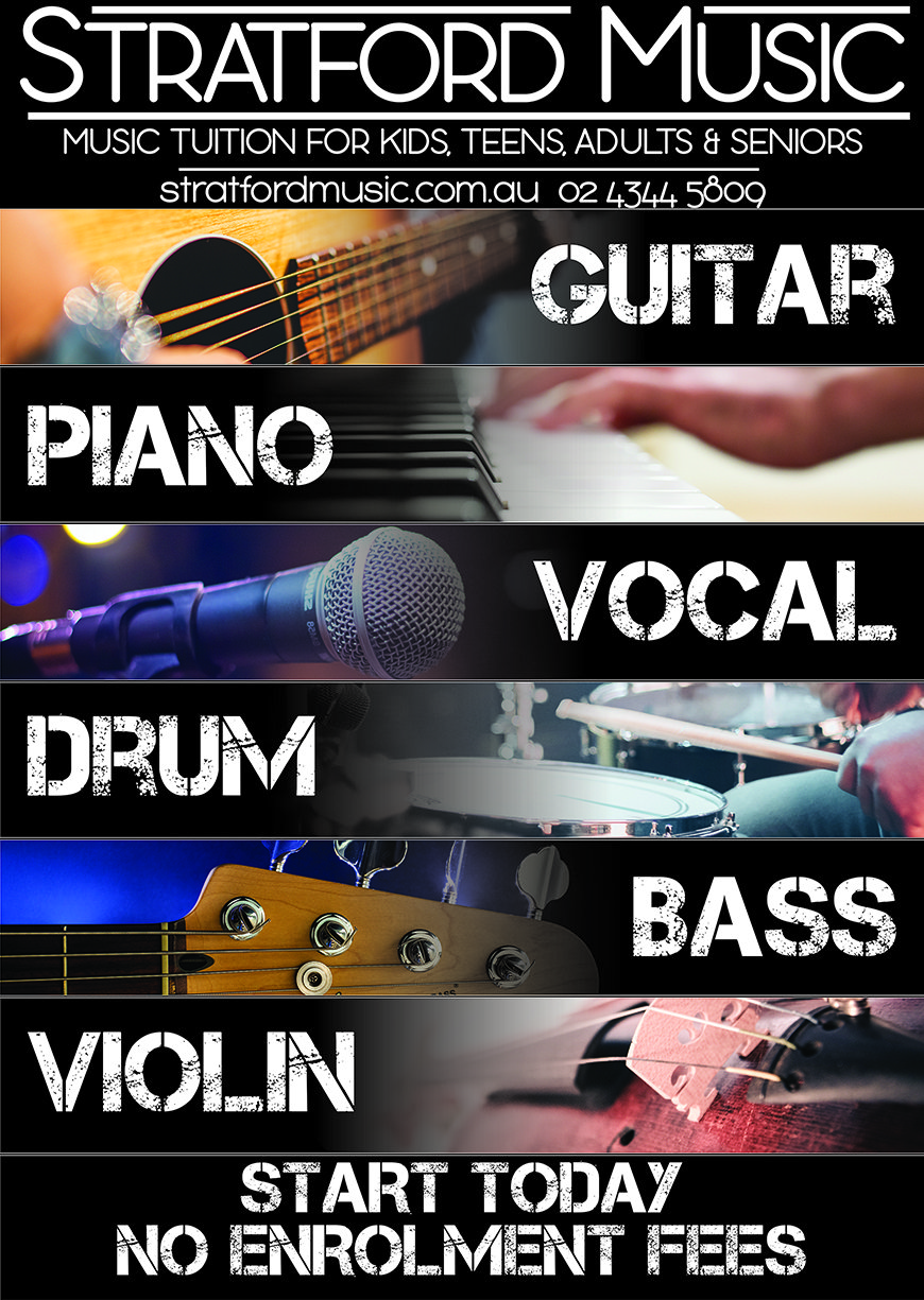 Music lessons Central Coast guitar piano vocal drum bass violin kids adults tuition