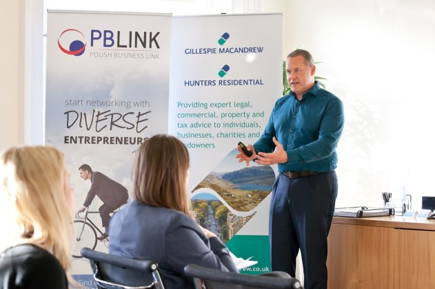 Malcolm speaking to Scottish Polish Business Iink