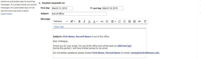 Create Out Of Office Message