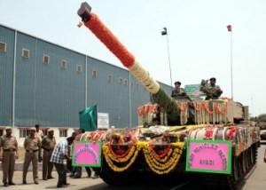 The Arjun parading at the induction ceremony at HVF, Avadi, Chennai.
