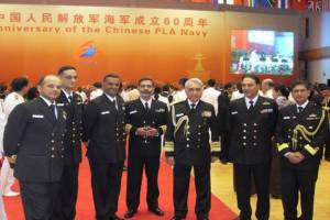 Admiral Sureesh Mehta, the Chief of Naval Staff with the Indian delegation at the Chinese IFR seminar venue.