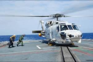 Cross-deck landing operations onboard Indian vessel