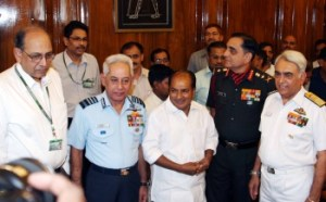 Defense Minister AK Antony with the three Service Chiefs and the Defense Secretary.