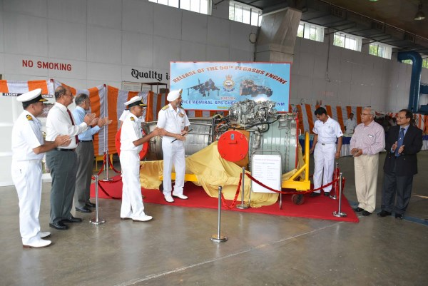 Vice Admiral S. P. S. Cheema, Flag Officer Commanding-in-Chief, Southern Naval Command releasing the 50th Pegasus engine overhauled by Naval Aircraft Yard at Kochi in December.