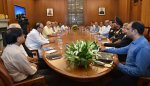 Prime Minister Narendra Modi holding the meeting of the Cabinet Committee on Security, today.