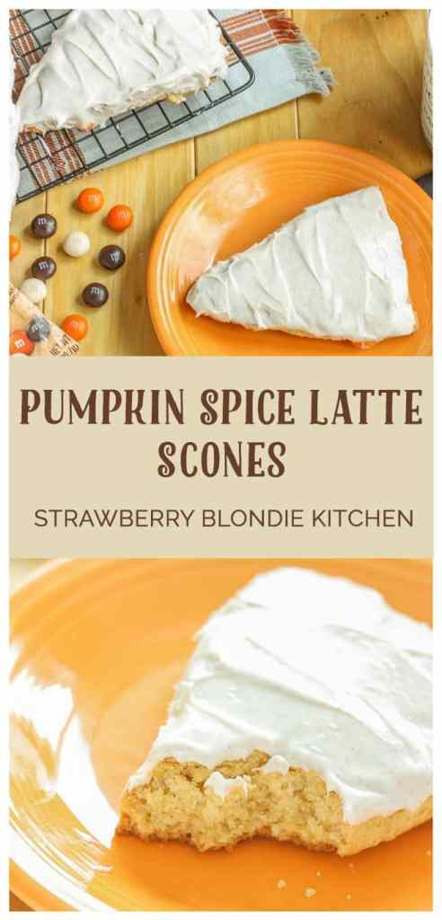 Wake up and enjoy the delicious flavors of fall with these scrumptious Pumpkin Spice Latte Scones. Made with pumpkin spice cake minx, pumpkin spice m & m's and topped with cinnamon cream cheese frosting, these are sure to start your morning off sweetly. | Strawberry Blondie Kitchen