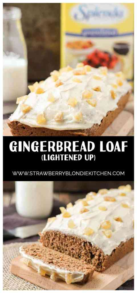 It's the holiday season and nothing could be more festive than a classic Gingerbread Loaf made with SPLENDA®. Aromatic spices, nutmeg cream cheese frosting and candied ginger pair perfectly with a nice hot cup of coffee to jump start your holiday shopping, caroling or gift wrapping on a joyous note. | Strawberry Blondie Kitchen