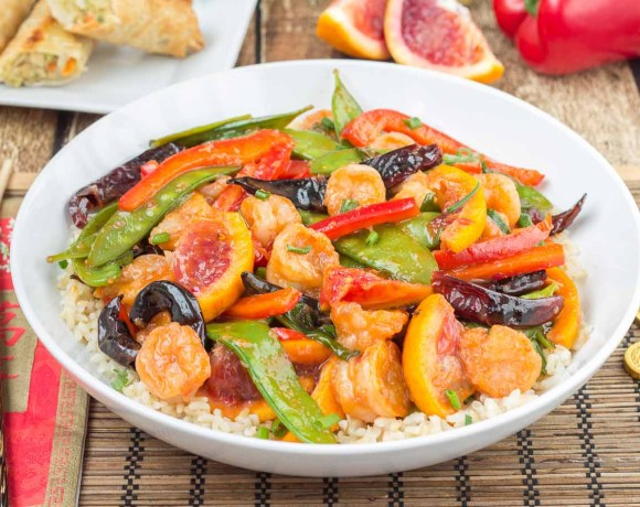 Blood Orange Shrimp Stir Fry
