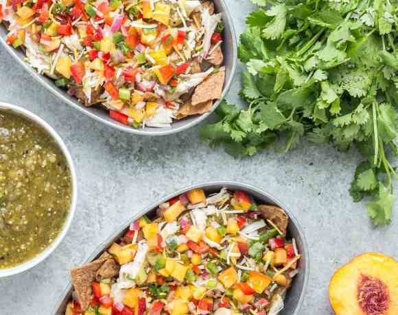 Chicken Nachos with Peach Salsa