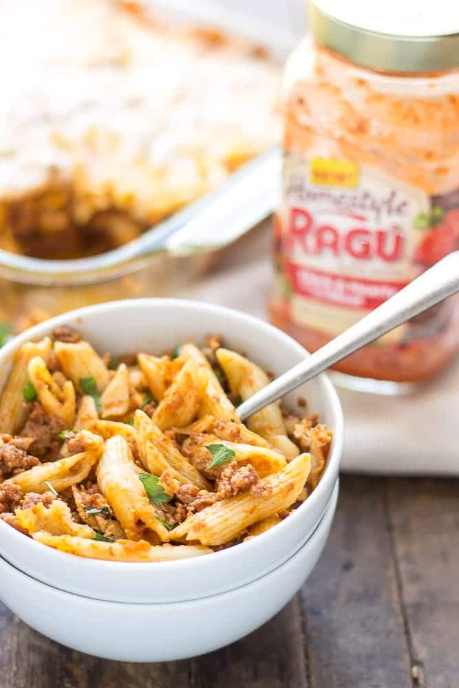 Baked Mostaccioli is loaded with ooey, gooey cheeses and packed with meat thanks to RAGÚ® Homestyle Thick & Hearty Meat Sauce. It's the perfect comfort food any night of the week and sure to become a family favorite! | Strawberry Blondie Kitchen