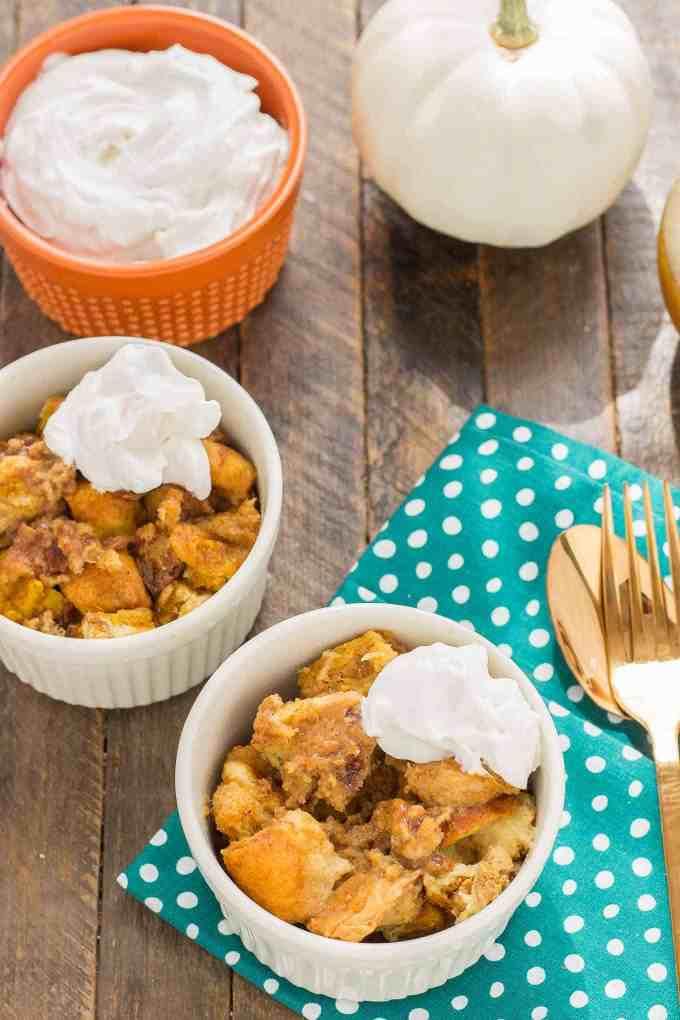 Pumpkin Bread Pudding With Brown Sugar Sauce Strawberry Blondie Kitchen