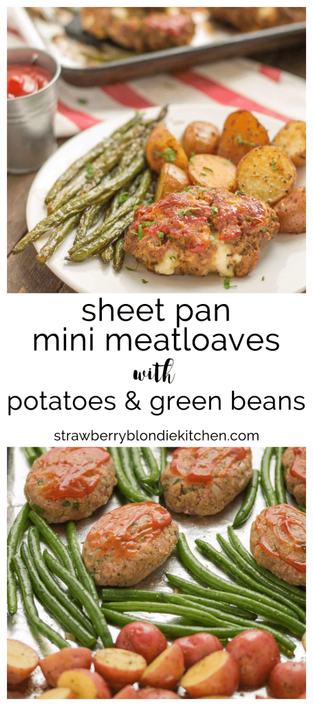 Sheet Pan Mini Meatloaves with Potatoes & Green Beans is the ultimate comfort food, cooked on one pan for easy cleanup. Now that's what I can a winner-winner, meatloaf dinner! | Strawberry Blondie Kitchen