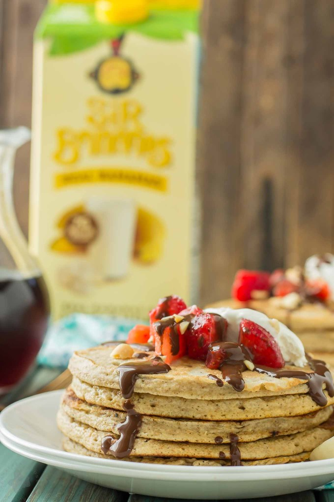 Now you can have an ice cream sundae for breakfast.  Banana Split Pancakes have all the flavors you love of the classic ice cream treat, in breakfast form! | Strawberry Blondie Kitchen