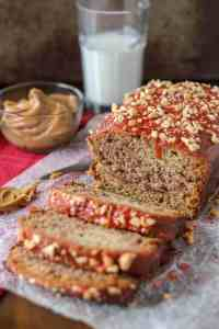 Peanut Butter and Jelly Banana Bread is a PB & J lovers dream! Switch up the jelly to create your ultimate sandwich in a baked bread form. | Strawberry Blondie Kitchen