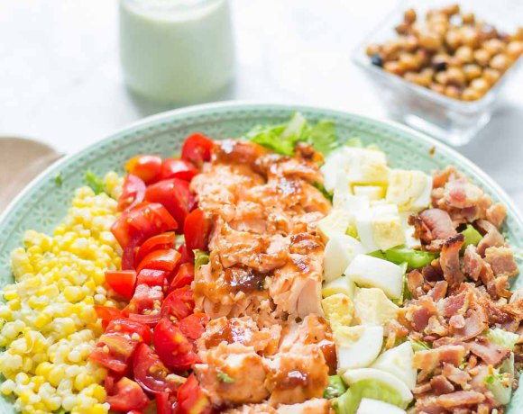 BBQ Salmon Cobb Salad with Avocado Ranch Dressing