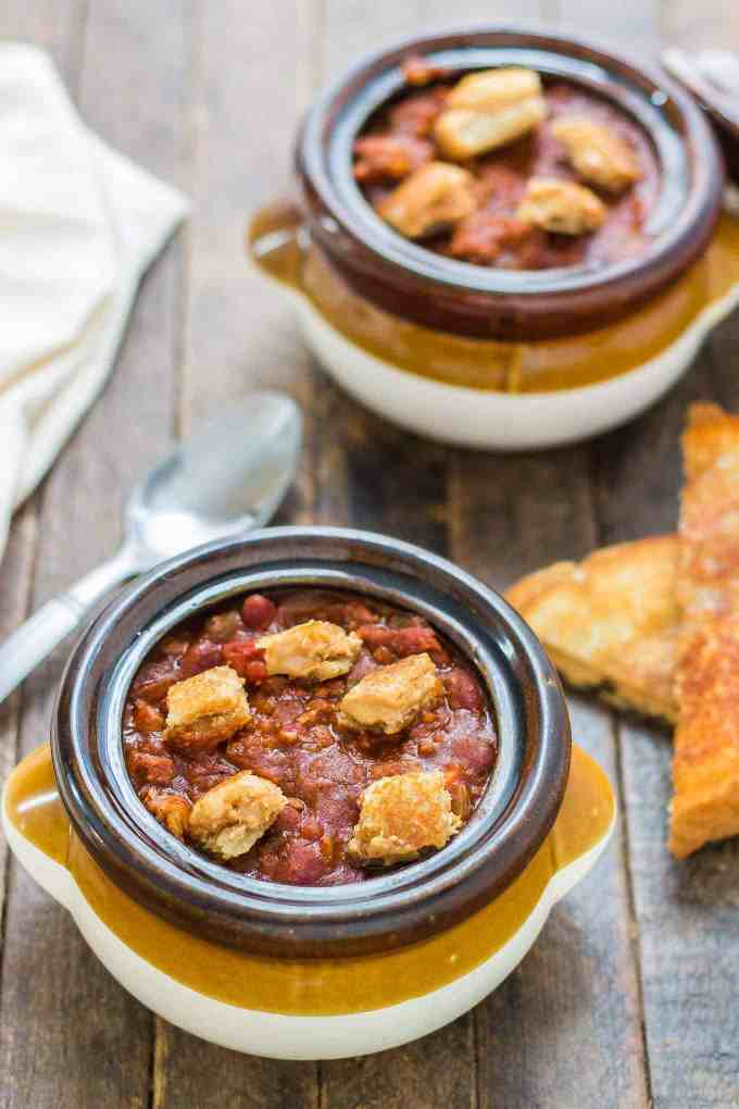 Crockpot Chili with Peanut Butter Sandwich Croutons combines your childhood favorite into one bowl of comforting chili to perfectly warm you to your core this crisp and cool Fall season!  | Strawberry Blondie Kitchen