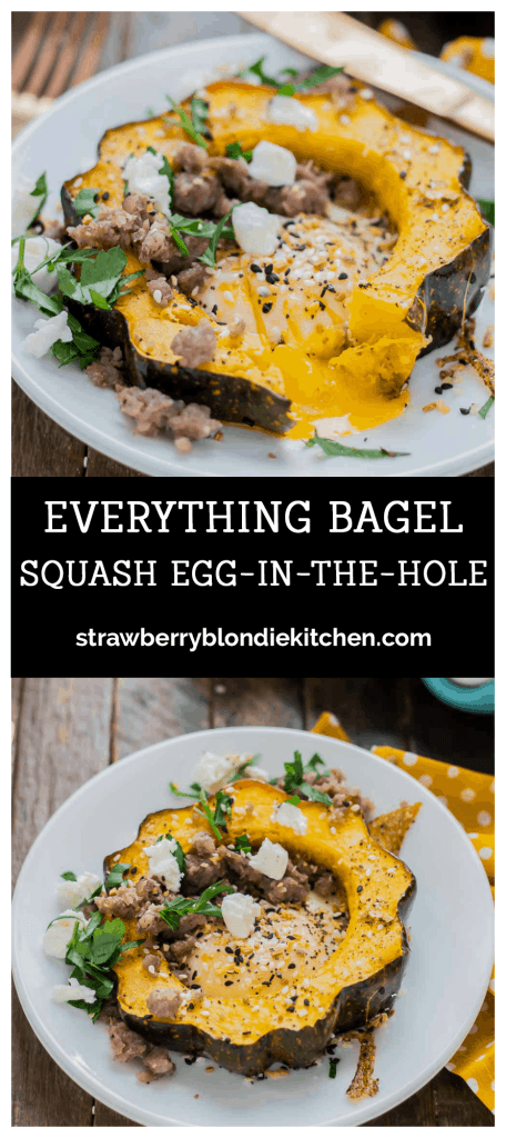 Everything Bagel Squash Egg in the Hole is the BEST breakfast sandwich but in fork and knife form.  Squash, egg, everything bagel seasoning, sausage and goat cheese, it's the ultimate egg in the hole. | Strawberry Blondie Kitchen