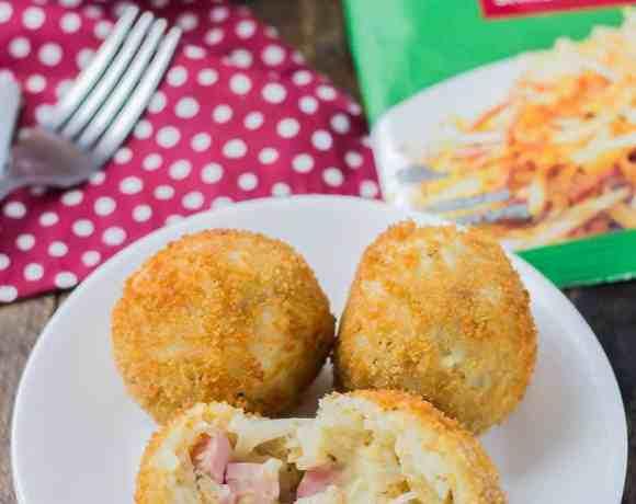 Ham and Cheese Stuffed Hash Brown Balls