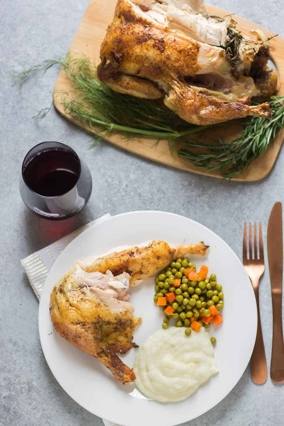 This easy roast chicken is flavorful with extra crispy skin and super simple for a delicious Sunday dinner! | Strawberry Blondie Kitchen