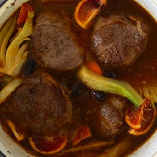 Braised Pork Shoulder with Fennel, Orange & Olives