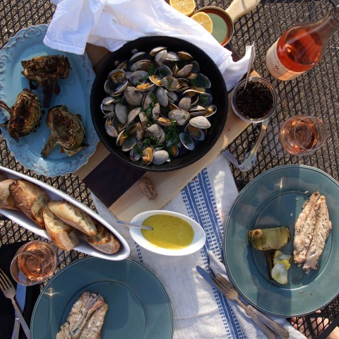 A Spring Feast with Grilled Artichokes