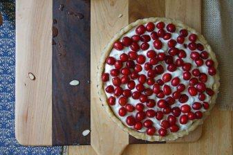 Unbaked Sour Cherry & Almond Meringue Tart