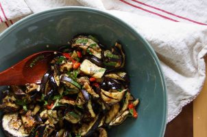 Eggplant Agrodolce with Mint & Peppers