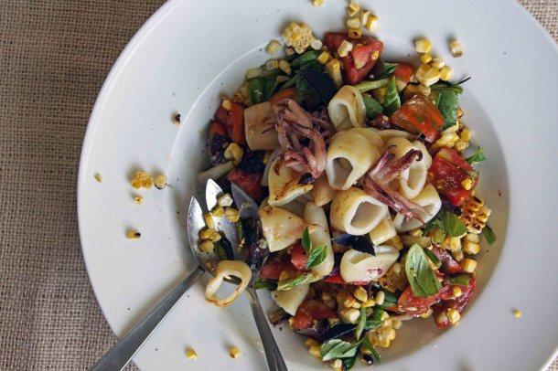 Grilled Calamari, Sweet Corn & Tomato Salad