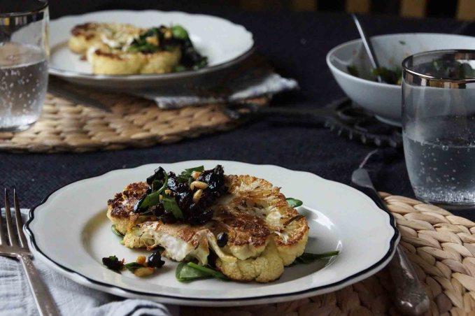 Cauliflower Steak with Black Olive and Currant Gremolata