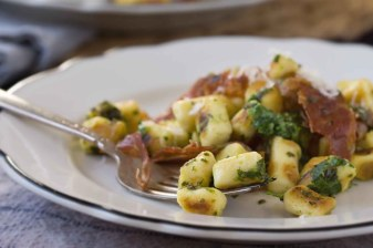 Parisian Gnocchi with Arugula Pistou & Crispy Prosciutto